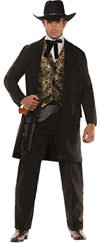 Gambler Costume (UHC Men's Gambler Outfit Western Theme Fancy Dress Adult Halloween Costume, XXL)
