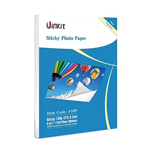 Self Adhesive Photo Paper Glossy -100 Sheets Uinkit Sticky Inkjet Paper 8.5x11 6.5Mil 130Gsm For Inkjet Printing ()