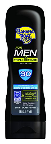 Banana Boat Sunscreen for Men Triple Defense Broad Spectrum Sun Care Sunscreen Lotion - SPF 30, 6 Ounce