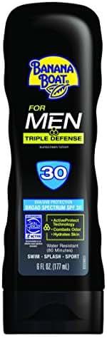 Banana Boat Sunscreen for Men Triple Defense Broad Spectrum Sun Care Sunscreen Lotion - SPF 30, 6 Ounce