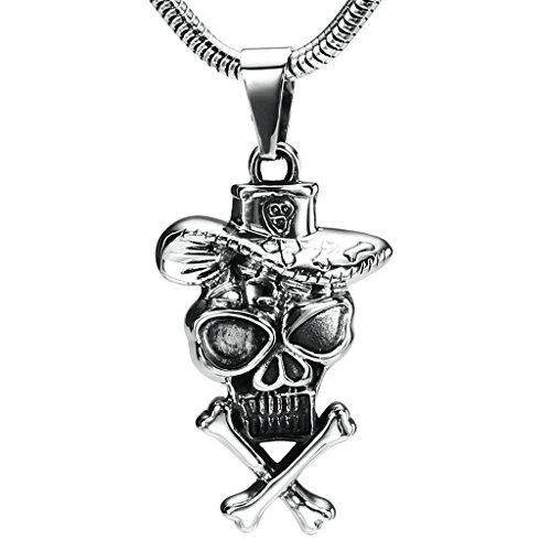 Daesar Stainless Steel Necklace Men's Pendant Necklace Hat Skull Pendant Silver Necklace - Sunglasses The Gatsby Great