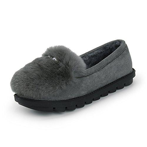 Cómodo Zapatos Planos de Otoño e Invierno Zapatillas de Algodón de Las Señoras de Moda Gruesa Caliente Zapatos de Interior Calientes Mensuales Zapatos 3 Colores Opcionales Tamaño Opcional Aumentado ( B