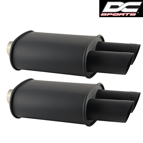 DC Sports Stainless Steel Black Oval Muffler Dual Angle-Cut Tips (2PCS) by DC Sports (Image #1)