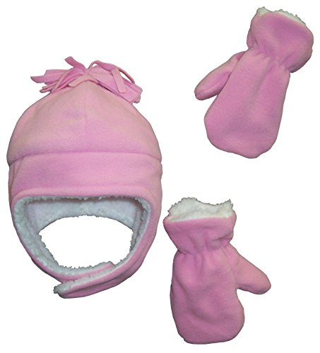 N'ice Caps Girls Soft Sherpa Lined Micro Fleece Pilot Hat and Mitten Set (2-3 Years, pink) - Kids Hat N Mitten
