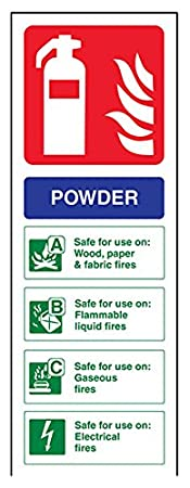 VSafety 11005AC-S Fire Extinguisher Sign, Powder ID, Self Adhesive, Portrait, 75 mm x 200 mm, Blue/Green/Red VSafety Ltd.