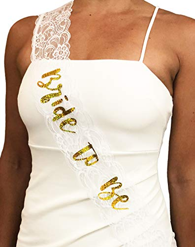 Bride to Be Bachelorette Sash | Engagement Bridal Wedding | Chic Gold Glitter Lettering on White Lace | Hen Party Accessories Decoration | by CC Party Co.]()