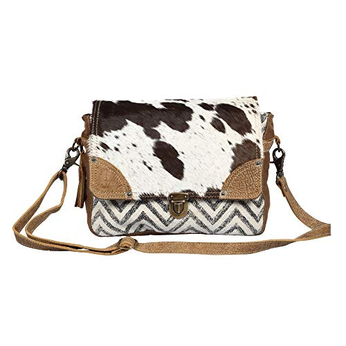 Myra Bag Pearl Fusion Upcycled Canvas & Cowhide Messenger Bag S-1380 ()