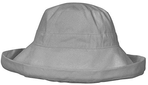 Women's Summer Cotton Bucket Beach Hat w/ Wide Fold-Up Brim,Grey