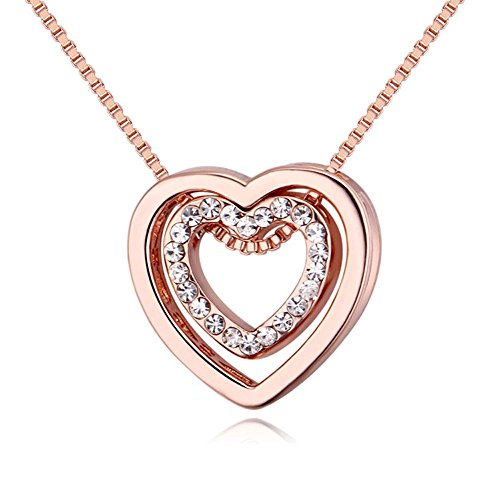 (YOUNICE Double Love Heart Shape Pendant Necklace Made with Swarovski Crystal for Women Girl Gift,Rose)