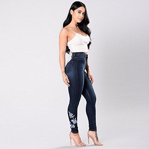 Fonc Automne Skinny Brod Bleu laamei Slim Rtro Jeans Fleur Femmes Bleu 1pc Denim Leggings Pantalons xqx6PZzI