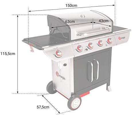 Happy Garden SOMAGIC - Barbecue au gaz Manhattan 450GPI - 4 brûleurs + réchaud 14kW