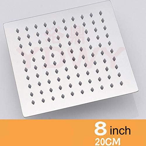 cuadrado de 20,32 cm, 20,32 cm f/ácil de limpiar e instalar Cabezal de ducha redondo cuadrado de 8//6 pulgadas cabezal de ducha grande rociador superior de alta presi/ón ultra delgado