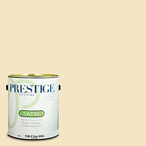 Prestige Paints Interior Paint and Primer In One, 1-Gallon, Satin,  Comparable Match of Benjamin Moore Hepplewhite Ivory -