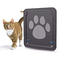"""Puerta de Mascotas, AGPTEK Gateras para gato para ser instalada en rejillas mosquiteras, puerta para mascotas de color negro, magnética y con seguro, para gatos y perros de razas pequeñas, 11.31"""" x 9.36"""" (28.7 x 23.7 cm.) Fácil de Instalar."""