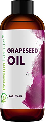 Grapeseed Oil Pure Carrier Oil - Cold Pressed Grape Seed Extract Oil for Essential Oils Mixing Natural Skin Moisturizer Body & Face Massage Lotion for Aromatherapy Nails and Hair Growth 4 oz