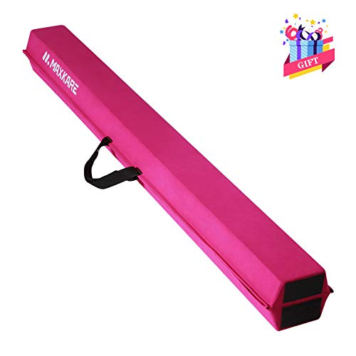 MaxKare Balance Beam 9FT Gymnastics Beam Foldable Balance Beam Gymnastic for Kids with Grip Suede Anti-Slip Base Gymnastics Beam for Home (Pink)