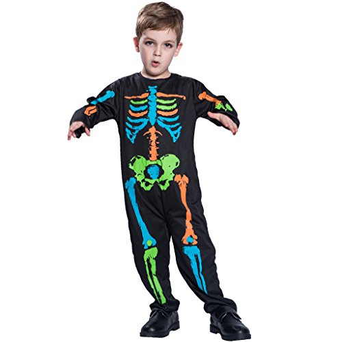 JIESENG Halloween Skeleton Costume for Kids,Boys,Girls,Ideal for Dress up,Festivals,Theme Parties ()