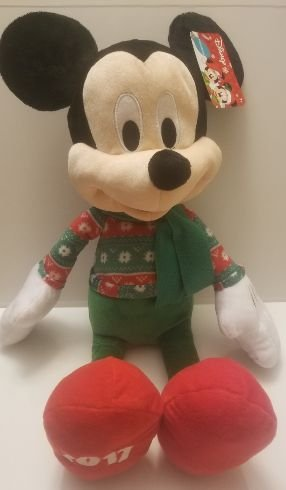 Mickey Mouse Plush Doll w/adorable green white sweater w/2017 On Foot Measures 22 ()