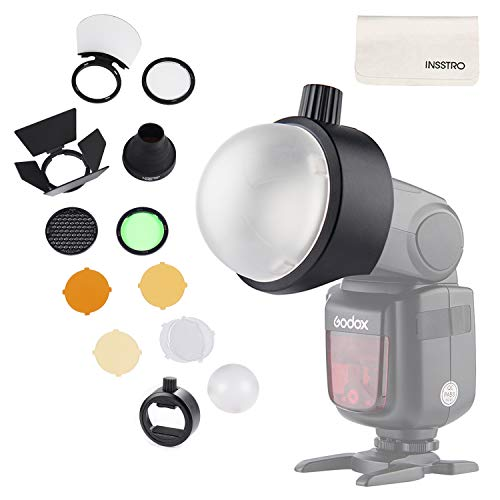 Godox Flash Diffuser Light Softbox Speedlite Flash Accessories Kit S-R1 & AK-R1 with Universal Mount Adpater for Canon, for Nikon, for Sony Speedlight and YONGNUO Speedlite - Flash Head Kit