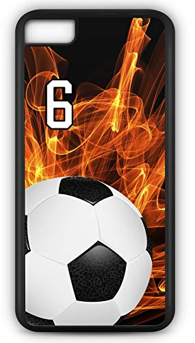 iPhone 6 Plus 6+ Case Soccer SC004Z Choice of Any Personalized Name or Number Tough Phone Case by TYD Designs in Black Plastic and Black Rubber with Team Jersey Number 6