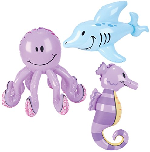 Inflatable Sea Creatures - Pool Party Decorations (1 dz) (Sea Creature Costumes)