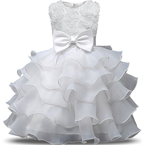 Niyage Girls Party Dress Princess Flowers Ruffles Lace Wedding Dresses Toddler Baby Pageant Tulle Tutus 6-12 M White