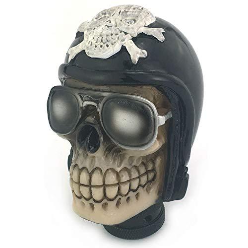 Thruifo Skull Handle Shifter Knob, Pilot Style MT Car Gear Stick Shift Head Fit Most Manual Automatic Vehicles, Black
