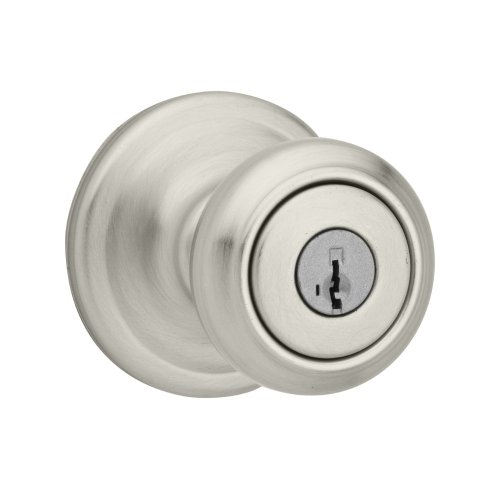 - Kwikset Cameron Entry Knob featuring SmartKey in Satin Nickel