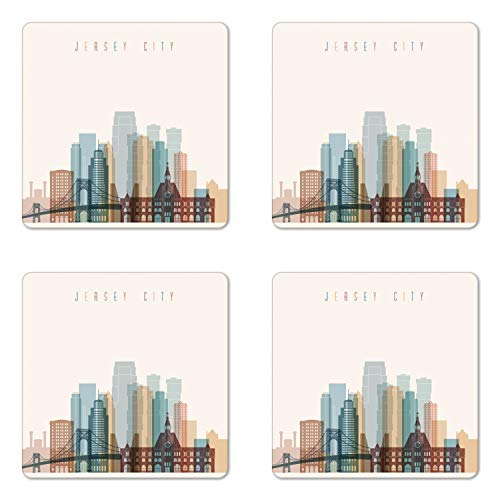 Ambesonne Jersey City Coaster Set of Four, New Jersey Skyline with Big American Town Buildings with Bridge Urban Print, Square Hardboard Gloss Coasters for Drinks, -
