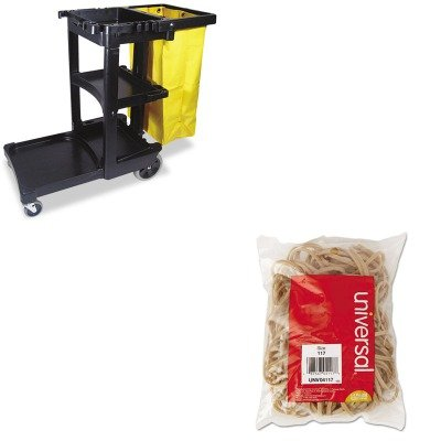 KITRCP617388BKUNV04117 - Value Kit - Universal Rubber Bands (UNV04117) and Rubbermaid Cleaning Cart with Zippered Yellow Vinyl Bag, Black (RCP617388BK)