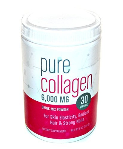 Pure Collagen 6,000MG Drink Mix Powder for Skin Elasticity, Radiant Hair & Strong Nails 6oz (30 Servings)