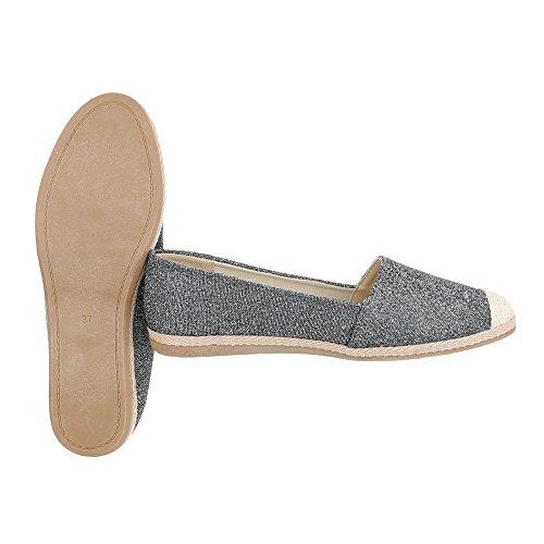 Ital-Design Slipper Damenschuhe Low-Top Blockabsatz Moderne Halbschuhe Silber Grau 323-BL