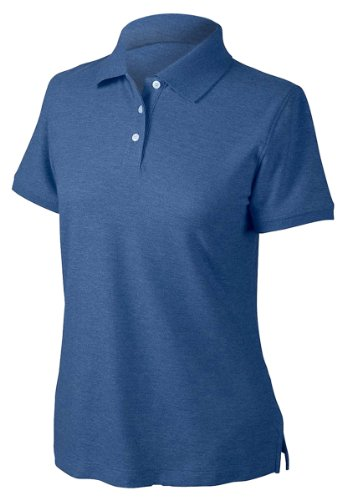 Sleeve Pima Pique Polo - Devon & Jones D153WGR Women's Recycled Pima Melange Pique Polo M Navy Melange