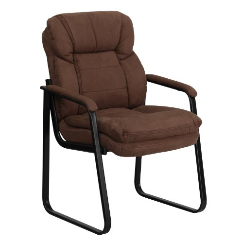 - Brown Microfiber Executive Side Reception Chair with Lumbar Support and Sled Base