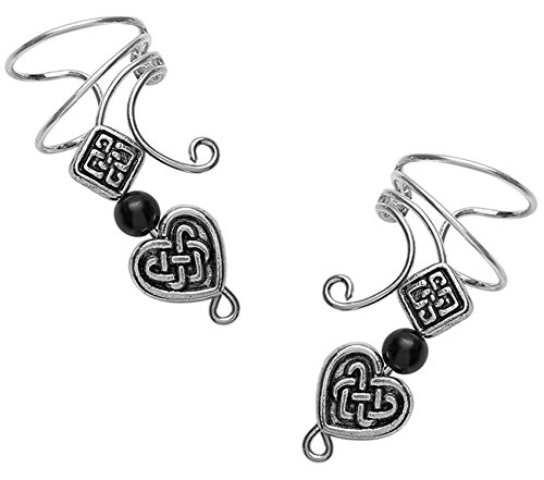 Long Wave Ear Cuff with Pewter Celtic Heart, Square & Onyx Accent on pair of Sterling silver Wrap Earrings