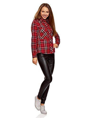 Carreaux Poches oodji Femme 4579c Poitrine Rouge Chemise Ultra avec qrrXt