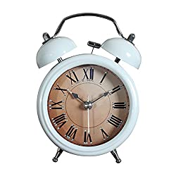 Kaimao Retro Twin Bell Alarm Clock with Silent Movement and Loud Alarms for Kitchen / Bedroom / Living Room / Office---(12.5 x 8 x 5,white)