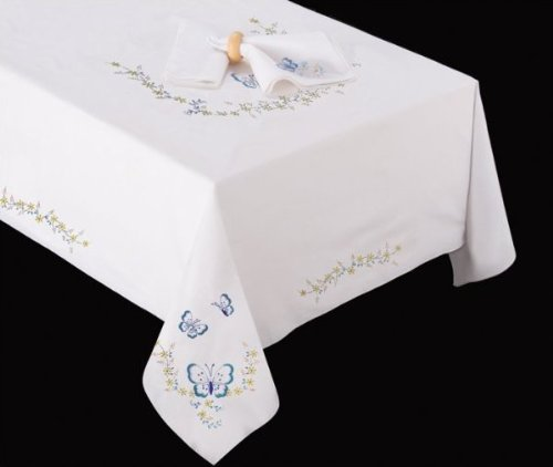 "Tobin Home Crafts 50"" x 70"" Tablecloth Stamped for Embroidery: Butterfly (T201477)"