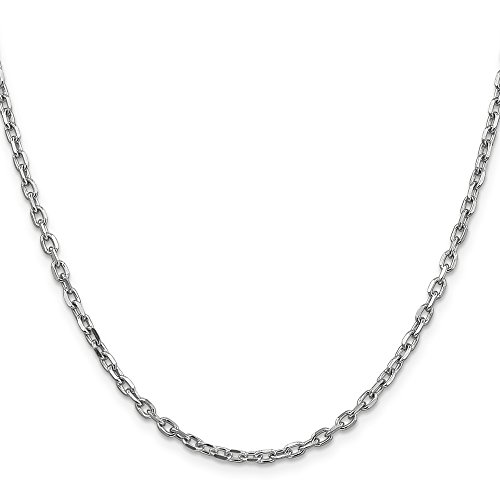 14k White Gold Cable Chain - Jewels By Lux 14k White Gold 3mm Diamond-Cut Cable Chain