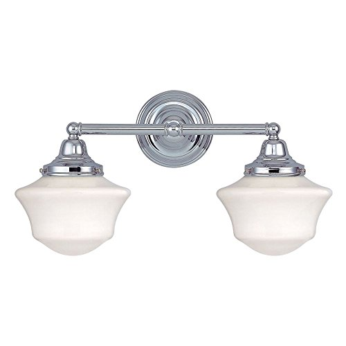 Schoolhouse Bathroom Light with Two Lights in Chrome Finish
