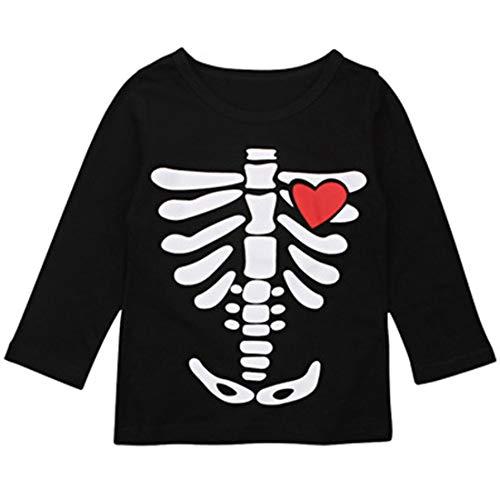 (AR-LLOYD Baby Sisters Skeleton X-Ray Heart Halloween Long Sleeve Top Baby Twins T-Shirt (Multicoloured1,)