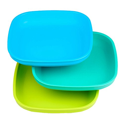 Re-Play Made In USA 3pk Plates with Deep Sides for Easy Baby, Toddler - Sky Blue, Aqua, Green (Under The Sea)
