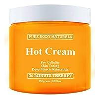 Pure Body Naturals Hot Cream para reducción de celulitis, tonificación y adelgazamiento de la piel, relajación muscular profunda, 8.8 onzas