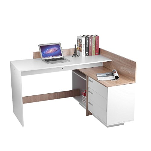 OUTAD Modern Home Office Computer Desk with 3 Drawers and 2 Compartments Design, Corner PC Latop Study Table Workstation, Small L-Shaped Notebook PC Latop Computer Writing Desk(DX-706) by OUTAD