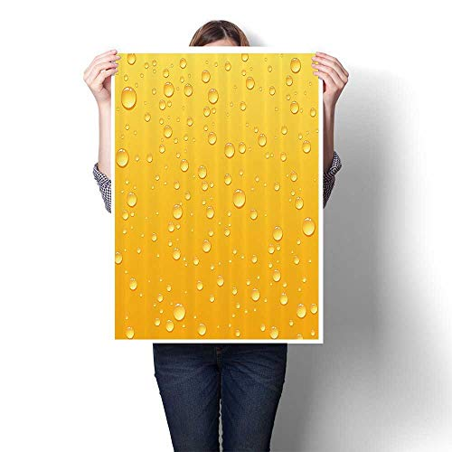 (SCOCICI1588 Modern Art Picture Colorful Canvas Print er in Glass with Water Drops Yellow Artwork for Kitchen Room Decor,12