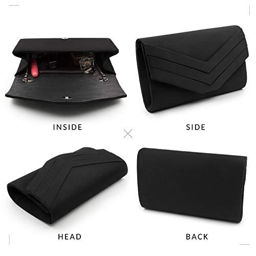 Milisente Clutch Purses for Women Velvet Envelope Evening Bags Classic Shoulder Clutch Purse (Black) by Milisente (Image #4)