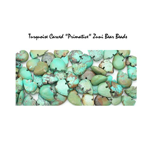5 Genuine Natural Turquoise Carved Zuni Bear Bead, approximately 15-20mm (pkg of 5 - Turquoise Imitation Beads