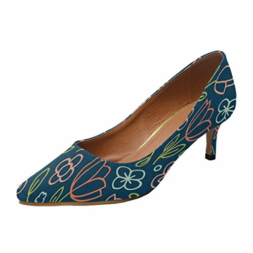 InterestPrint Womens Low Kitten Heel Pointed Toe Dress Pump Shoes 8 March Pattern Floral Flower Tulip Multi 1 qsXXulWVUB