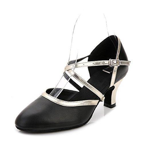 Hutt Zapatillas de Baile para Mujer, tamaño de Cuero Adulto 22.5cm a 25.0cm, Altura, 7.5 cm, Negro, Verano, Suave, Latino, Baile, Zapatos