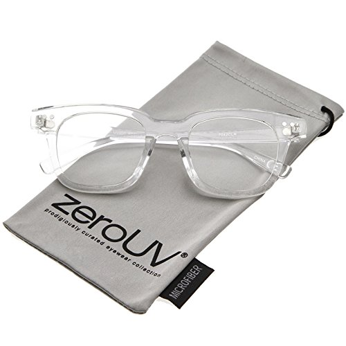 zeroUV - Modern Metal Rivets Square Clear Flat Lens Horn Rimmed Eyeglasses 46mm (Clear / - Best Warby Parker Sunglasses
